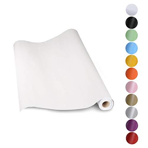 KINLO Papel Pintado Pared Blanco 0.61*5M per Rollo Autoadhesivo Dormitorio Moderno de PVC para Decorar y Proteger , Pegatina para Muebles/Cocina/Baño/Sala/Habitación, a Prueba de Agua de Moho