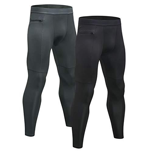Niksa Mallas Hombre Running Leggings Deporte Pantalones Largos de Compresión Negro Gris Medium