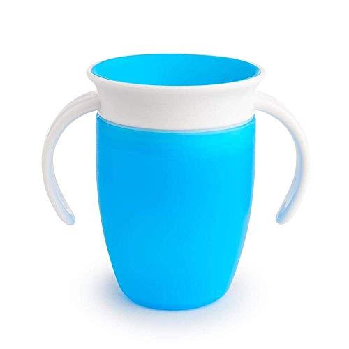 Munchkin Miracle 360°- Vaso antiderrames entrenamiento con asas, azul, 207 ml