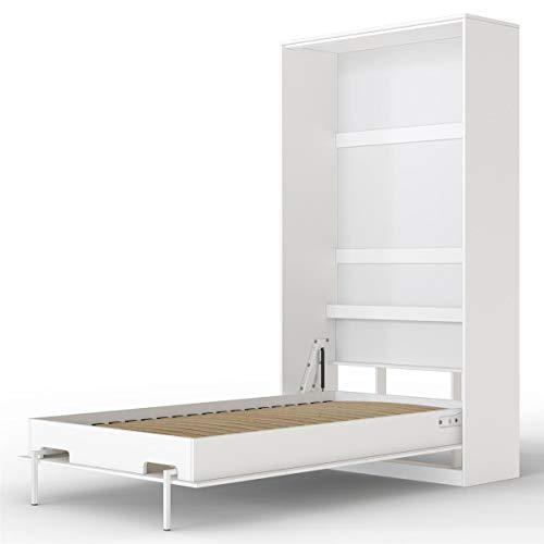 SMARTBett Basic Cama abatible Cama Plegable Cama de Pared (Blanco, 90 x 200 cm Vertical)