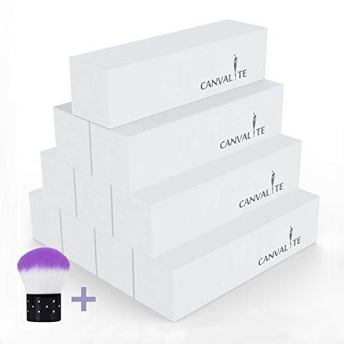Canvalite - Bloque de uñas con cepillo de uñas (10 unidades, grano 120), color blanco