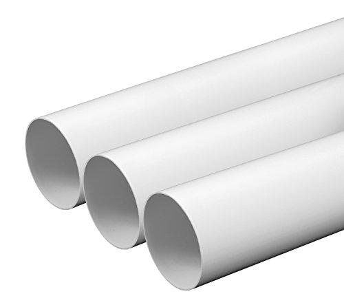 Tubo de ventilación 100 mm, longitud de 0,5 m de plástico ABS, tubo redondo, canal redondo, tubo de salida de aire, canal de salida de aire, extractor de humo, canal 10 cm de diámetro y 50 cm de largo, sistema de tubo redondo