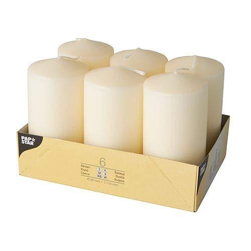 PAPSTAR 17,991 - Conjunto de 6 Velas, 60 x 115 mm, 6 Piezas, Colores: Crema