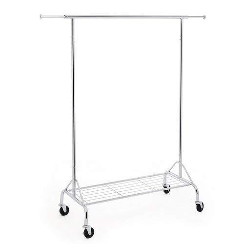 Songmics HSR02S Perchero para cargas pesadas, con estante para zapatos, con ruedas, en metal, soporta hasta 50kg, longitud:  110,5–150,5cm, cromado
