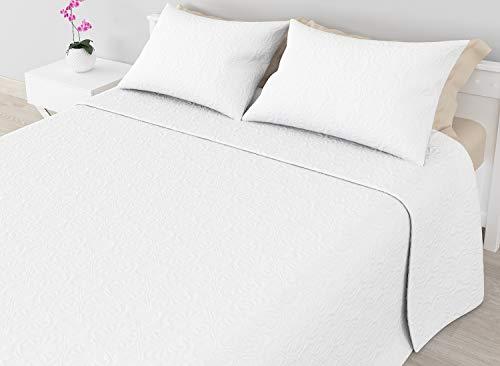 Cabetex Home - Colcha Bouti Lisa de Microfibra Transpirable con Cojines Mod. SAMIN (Blanco, Cama de 105 cm (200x255 cm))