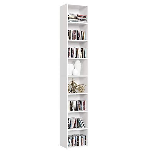 Homfa Librería Estantería de Pared 8 Cubos Estantes Ajustables Estantería Alta del Suelo para Libros CDs 180cm*29.5 * 23.5 (Blanco)
