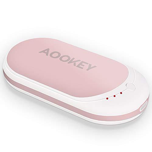 Aookey Calentador de Manos USB Recargable 5200mAh Powerbank Batería Externa Calienta Manos Electrico Reutilizable Calentamiento Rápido Calentadores de Bolsillo Cargador Móvil Portátil - Rosa