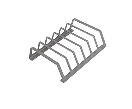 tradeNX - Asador de costillas de acero inoxidable, soporte para 6 costillas, para profesionales y aficionados, 25 x 20 cm