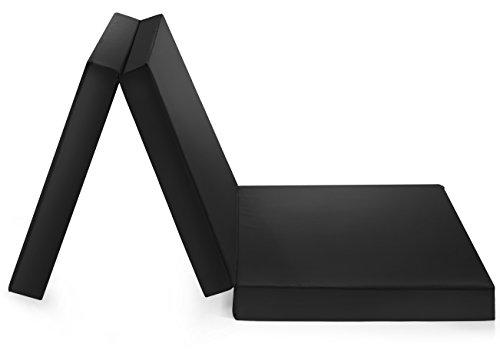 Badenia Bettcomfort Trendline, Colchón plegable para invitados con funda de microfibra, área de descanso de 196 x 65 cm, negro
