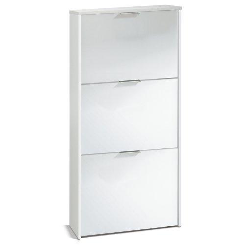 Habitdesign LC7877BO - Zapatero 3 Puertas, Zapatero Estrecho Capacidad de 18 Pares de Zapatos, Acabado en Color Blanco, Medidas: 113 cm (Alto) x 60 cm (Ancho) x 22 cm (Fondo)