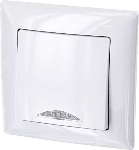 Up G1 – Interruptor de encendido y apagado con iluminación led, todo en uno, marco + caja para empotrar + cubierta protectora (color blanco puro)
