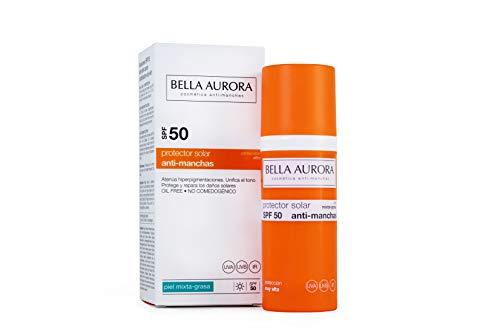 Bella Aurora Protector Solar Facial SPF +50 Piel Mixta-grasa | Crema de protección Solar, 50 ml