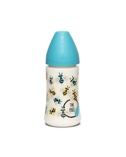 Suavinex - Biberón para bebés +0 meses con tetina 3 posiciones (flujo lento, medio o Denso) de silicona, 270 ml, Abejitas Azul