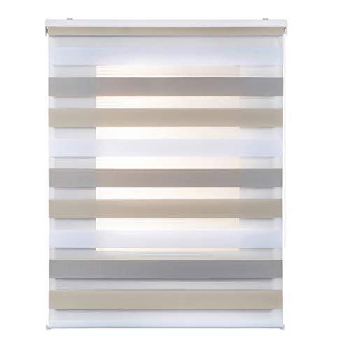 Stores Deco Estor Noche y Día, Estor Enrollable con Doble Tejido para Ventanas y Puertas (120 cm x 250 cm, Tricolor)