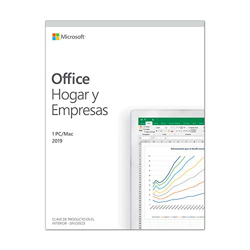 Microsoft Office Hogar y Empresas -  Software para PC o Mac, para 1 PC/MAC, Version 2019