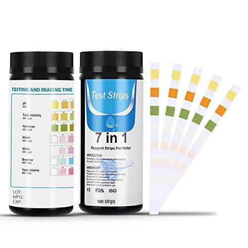 Dustgo Tiras de Prueba de Piscina- Medidor ph 7 en 1 con 100 PCS para Pruebas cualitativas y Semi-cualitativas de la Calidad del Agua, como PH,Cloro Residual para Piscinas, spas, estanques