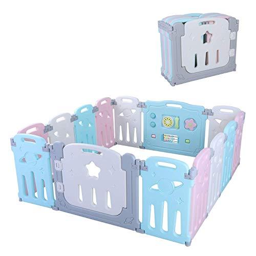 Bamny Valla Infantil Puerta de Seguridad de Plástico para Bebés Con Puerta para Niños de 10 Meses a 6 Años (12+2)
