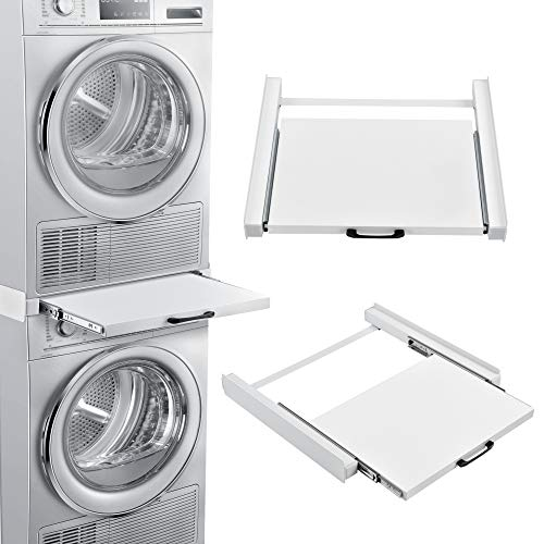 [en.casa] Marco para apilar Lavadora o Secadora 60 x 54 cm Pieza y Accesorio de Lavadoras Universal Ahorrar Espacio Acero Blanco