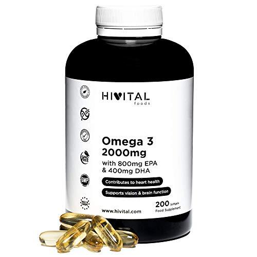 Omega 3 2000 mg   200 cápsulas para más de 3 meses   Con 800 mg EPA, 400 mg DHA y Vitamina E Natural   El único con Aceite de Pescado Español que contribuye a la salud cardíaca, cerebral y ocular