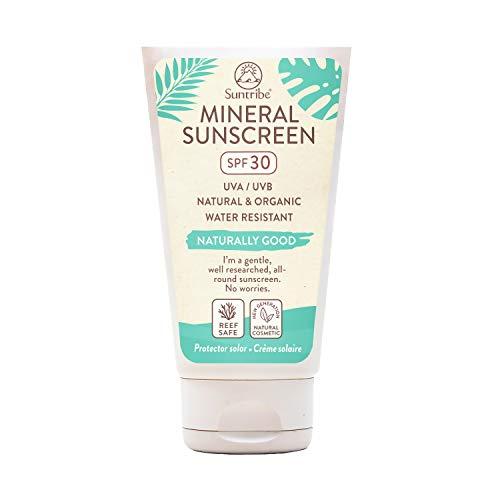 Crema Solar Mineral Cuerpo & Cara Suntribe - FPS 30 - Biodegradable - Ã'xido de Zinc (Filtro UV Mineral) - Resistente al agua - 8 Ingredientes - Nuevo: less visible (60 ml)