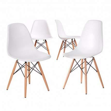 Home Heavenly- Pack 4 sillas Comedor salón Modelo NÓRDICA, con Pata de Madera, Silla Basic en Blanco o Gris envío Desde España (Blanco)