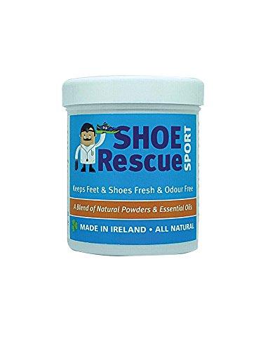 Shoe Rescue Polvos para pies y calzado Elimina el olor de pies 100% natural Contiene aceites esenciales �rbol de Té Eucalipto y Menta 100g