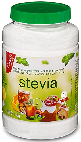 Edulcorante Stevia + Eritritol 1:1 - Granulado - Sustituto del Azúcar 100% natural - Hecho en España - Keto y Paleo - Castello since 1907 (1g = 1g de Azúcar (1:1), Bote 1 kg)