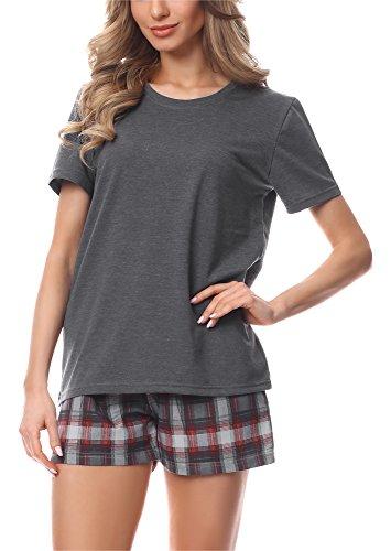 Merry Style Pijama Conjunto Camiseta y Pantalones Mujer MS10-177 (Mélange Oscuro/Burdeos, XXL)