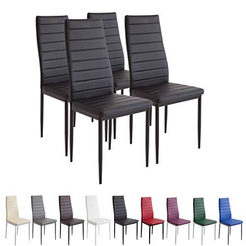 Albatros 2551MILANO Set de 4 sillas de Comedor, Negro