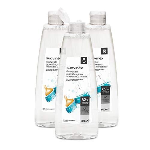 Suavinex Detergente para Biberones y Tetinas con 82% de Ingredientes de Origen Natural. sin Alcohol y sin Colorantes, Pack de 3x500ml Total:1500ml (Versión Española)