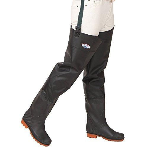 Mufly Pantalones de Pesca, Impermeable Profesionales Wader Cuissardes PVC Gruesa Impermeable y Control de tracción Botas de Pesca (EU 42=UK 8)
