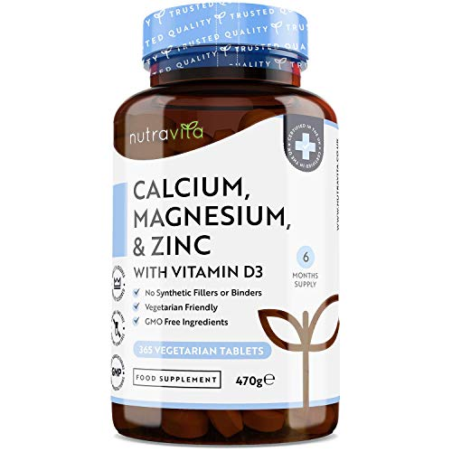 Calcio 800mg, Magnesio 360mg, Zinc y Vit D - 365 Tabletas Vegetarianas (6 Meses) - Para mantenimiento de Huesos, sistema inmunológico, función muscular normal y fatiga reducida - Hecho en Europe
