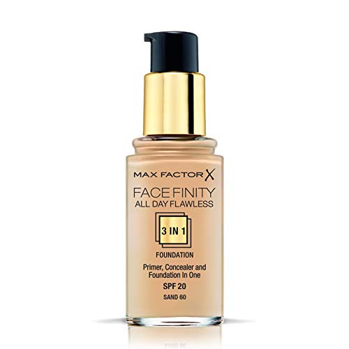 Max Factor FaceFinity 3 en 1 All Day Flawless Base de Maquillaje Tono 060 Sand - 30 ml