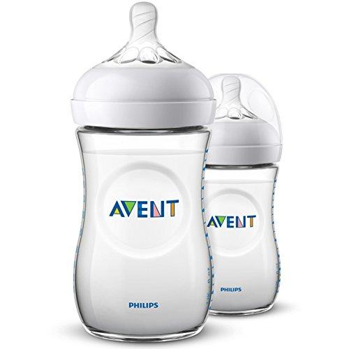 Philips Avent Biberón Natural SCF033/27 - Pack de dos biberones de 260 ml con tetina con flujo para recién nacidos, diseñada para imitar el tacto del pecho, 0% BPA, 1m+, color transparente