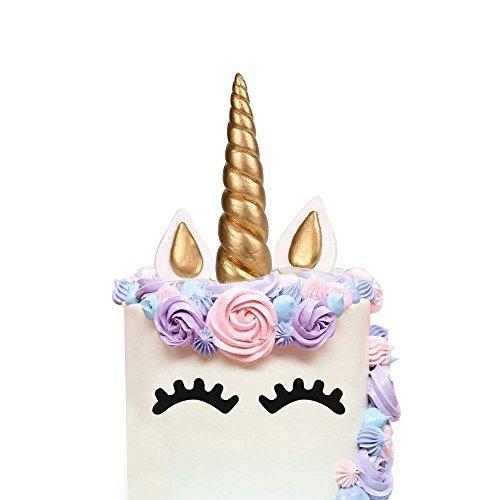 Cake Topper, AIEX Oro Hecho a Mano Feliz Cumpleaños Pastel Decoración/Cumpleaños Cake toppers, Linda Unicornio Cuerno, Orejas y Pestañas, Tartas Decoraciones para Cumpleaños/Boda(5.5x1.37 inches)