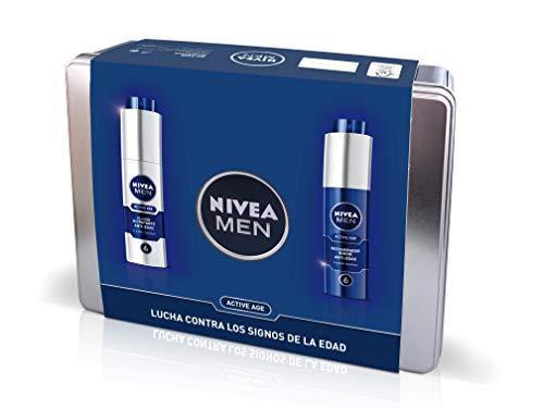 Nivea Men Pack Active Age, Caja de Regalo, Fluido Hidratante Facial de Día 1 x 50 ml y Crema Regeneradora de Noche 1 x 50 ml, Kit para Hombres con Cremas Antiedad