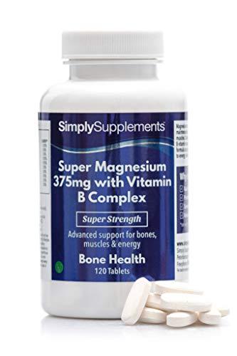 Super Magnesio 375 mg con complejo de vitamina B - 120 Comprimidos - Apto para veganos - 4 meses de suministro - SimplySupplements