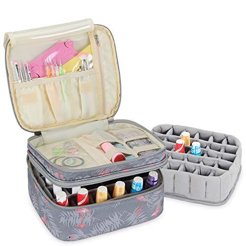 Luxja Organizador de esmaltes de uñas, esmaltes de uñas Estuche, Porta esmaltes de uñas- Sostiene 30 Botellas (15 ml - 0.5 FL.oz), Bolsa de Almacenamiento de Doble Capa para lacas y manicuras