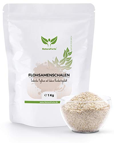 NaturaForte Cáscara de Psyllium Husk 1000g - Vegano - Rico en fibra y mucílago - Sin gluten - Psyllium Husk - Superfood Low-Carb