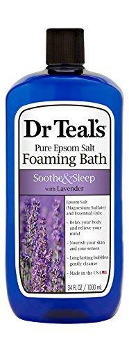 Dr azul puro del Epsom sal espuma baño para calmar y dormir con lavanda, 1L