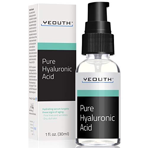 Suero Ácido Hialurónico Facial YEOUTH - Fórmula 100% pura para el antienvejecimiento! (1oz)