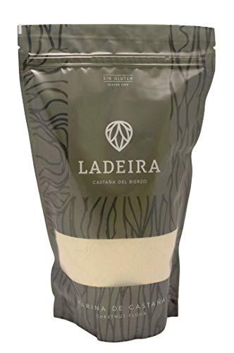 LADEIRA Harina de castaña amparada por la Marca de Garantia 'Castaña del Bierzo' , sin gluten y sabor dulce. 515 g