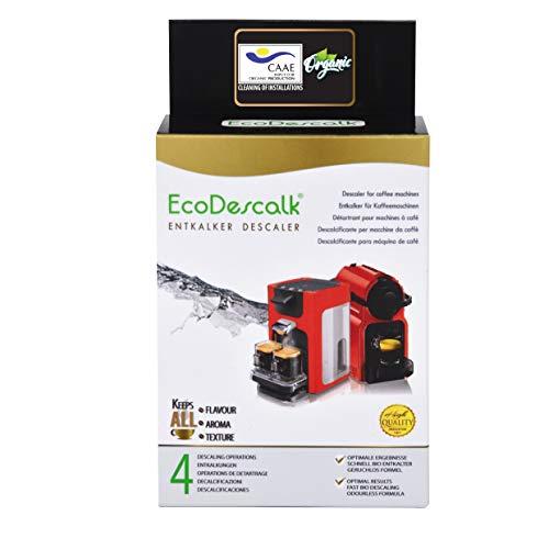 EcoDescalk Ecológico en Polvo, 4 Sobres. Descalcificador 100% Natural. Limpiador para Cafeteras. Todas Las Marcas: Bosch, Nespresso, DeLonghi, Tassimo. 4 Descalcificaciones. Producto CE.