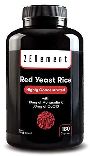 Levadura Roja de Arroz concentrada con 10mg de Monacolina K y 30mg de Coenzima Q10, 180 Cápsulas   Controla los niveles de colesterol sanguíneo   100% Vegano, libre de citritina y aditivos, sin gluten