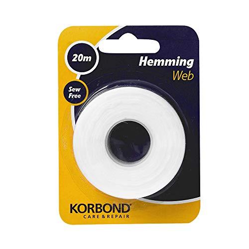 Korbond Cinta termoadhesiva para dobladillos, para pegar tela y hacer manualidades sin coser, ideal para orillas, pantalones, vaqueros, parches y uniformes, 2 cm x 20 m