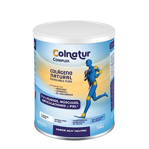 Colnatur Complex Neutro 330 g - Colágeno natural asimilable puro, con vitamina C, Magnesio y Ácido Hialurónico - Cuidado de articulaciones, huesos y músculos. Actividad física media - 11 g/día.
