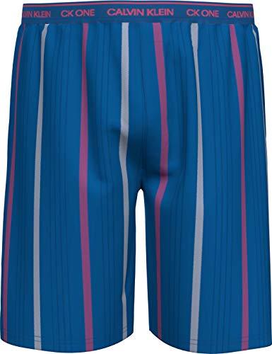 Calvin Klein Sleep Short Pantaln de Pijama, Step Stripe_Kettle Azul, M para Hombre