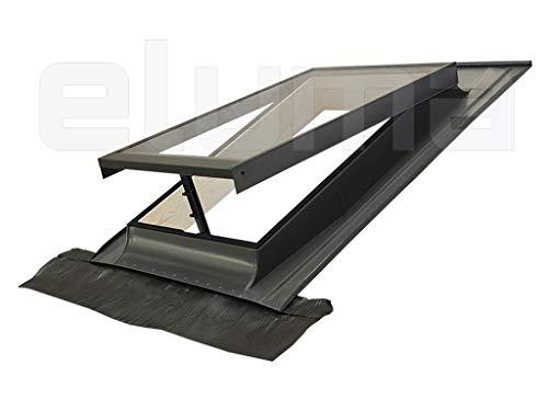 Claraboya - Ventana para tejado'BASIC VASISTAS' (apertura tipo Velux) Tragaluz por el acceso al techo/Tapajuntas incluido (48x72 Base x Altura)