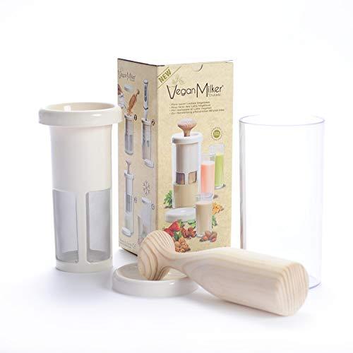 VEGAN MILKER PREMIUM (by Chufamix) utensilio para hacer leches vegetales a partir de cualquier semilla.1 litro en 1 minuto. Mortero de madera. Made in Europe. EBook de Recetas (en la web Chufamix)