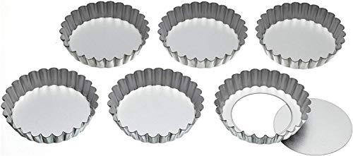 Kitchen Craft Juego de 6 Latas de Tarta de Base Suelta de 10 cm, Acero Inoxidable, Gris, 8 cm, 6 Unidades